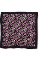 Oscar de la Renta Flowerpainted Square Silk Scarf - Lyst