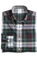 Brooks Brothers Non-iron Slim Fit Green Plaid Sport Shirt - Lyst
