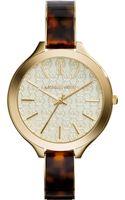 Michael Kors Womens Slim Runway Tortoise and Gold-tone Stainless Steel Bracelet Watch 42mm - Lyst