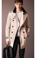 Burberry Cotton Gabardine Leather Collar Trench Coat - Lyst