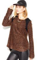 Sanctuary Long Sleeve Crewneck Paneled Sweater - Lyst