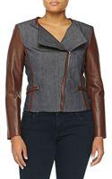 Michael Kors Denim Moto Jacket W Leather - Lyst