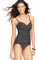 Miraclesuit Rialto Polka Dot Ruched One Piece Swimsuit - Lyst