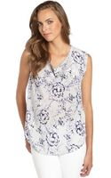 Rebecca Taylor Grey and Navy Silk Floral Printed Sleeveless Blouse - Lyst