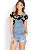Forever 21 Blue Jeans Babe Overall Shorts - Lyst