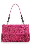 Bottega Veneta Snakeembossed Woven Leather Flap Bag - Lyst
