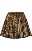 Balmain Embellished Leopardprint Calf Hair and Leather Mini Skirt - Lyst