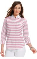 Tommy Hilfiger Three Quarter Sleeve Mixed Stripe Buttondown Top - Lyst