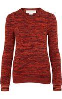 Stella McCartney Orange Melange Crew Neck Wool Knit Jumper - Lyst
