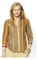 Lauren by Ralph Lauren Plus Stripe Button Down Shirt - Lyst