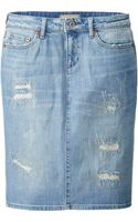 Uniqlo Women Pure Blue Japan Denim Pencil Skirt - Lyst