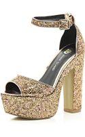 River Island Gold Glitter Peep Toe Platform Sandals - Lyst