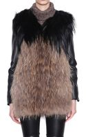 Laneus Kidassia and Marmot Fur Coat with Leather Sleeves - Lyst