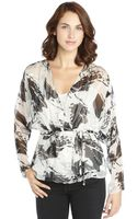 Rachel Zoe Grey and Black Silk Blend Floral Burnout Print Wrap Blouse - Lyst