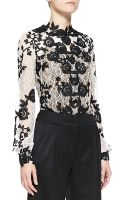 Oscar de la Renta Longsleeve Embellished Lace Blouse - Lyst