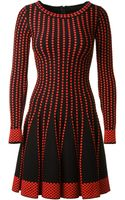 Azzedine Alaïa Black and Red Stretch Anémone Dress - Lyst