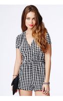 Missguided Annika Dogtooth Print Jersey Wrap Playsuit - Lyst