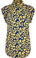 River Island Blue Leopard Print Roll Sleeve Shirt - Lyst