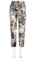 River Island Navy Floral Print Cropped Trousers - Lyst