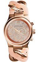 Michael Kors Ladies Runway Rose Goldtone Chronograph Glitz Watch - Lyst