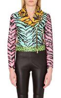 Moschino Cheap & Chic Animal Print Leather Biker Jacket - Lyst
