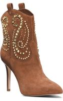 Michael Kors Reena Studded Suede Ankle Boot - Lyst