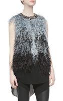 Haute Hippie Ostrich Feather Vest W Embellished Neck - Lyst