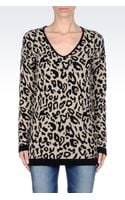 Armani Jeans Oversize Jumper in Animal Print Wool Blend - Lyst