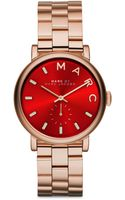 Marc By Marc Jacobs Baker Rose Goldtone Stainless Steel Bracelet Watchred - Lyst