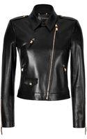 Versace Leather Biker Style Jacket - Lyst