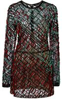 J. Mendel Rush Rouge Embroidery Long Sleeve Dress - Lyst