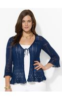 Lauren by Ralph Lauren Pointelle-knit Linen Sweater - Lyst