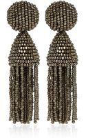 Oscar de la Renta Silvertone Tassel Bead Clipon Earrings - Lyst