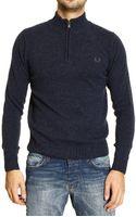 Fred Perry Sweater Super Geelon Melange Half Zip 2 Yarn - Lyst