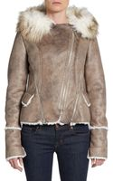 Laundry By Shelli Segal Distressed Faux Fur-trimmed Jacket - Lyst