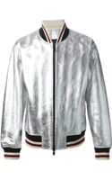 Marc By Marc Jacobs Metallic Leather Bomber Jacket - Lyst