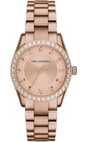 Karl Lagerfeld Womens Petite Stud Rose Gold Ion-plated Stainless Steel Bracelet Watch 34mm - Lyst