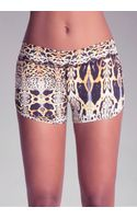 Bebe Printed Ruched Shorts - Lyst