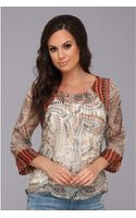 Lucky Brand Geo Mixed Print Top - Lyst