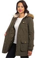 DKNY Fur Trim Hooded Cotton Canvas Parka Y4 - Lyst