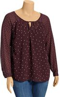 Old Navy Plus Printed Chiffon Keyhole Blouses - Lyst