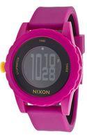 Nixon Womens Genie Digital Fuschia Silicone Black Dial - Lyst