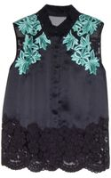 3.1 Phillip Lim Sleeveless Top with Lace Detail - Lyst