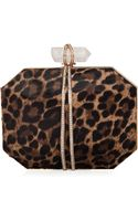 Marchesa Iris Calf Hair Box Clutch Bag Leopard - Lyst