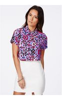 Missguided Martindale Neon Aztec Cropped Shirt - Lyst