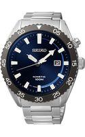 Seiko Mens Kinetic Stainless Steel Bracelet Watch 44mm Ska623 - Lyst