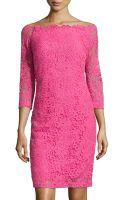 Monique Lhuillier 34-sleeve Lace Sheath Dress - Lyst