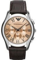 Emporio Armani Unisex Chronograph Brown Croco Leather Strap Watch 45mm - Lyst