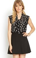 Love 21 Bow Print Ruffled Blouse - Lyst