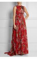 Dolce & Gabbana Printed Silk-chiffon Gown - Lyst